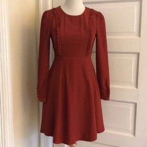 Bea & Dot (Modcloth) Rust Red Fit and Flare Dress